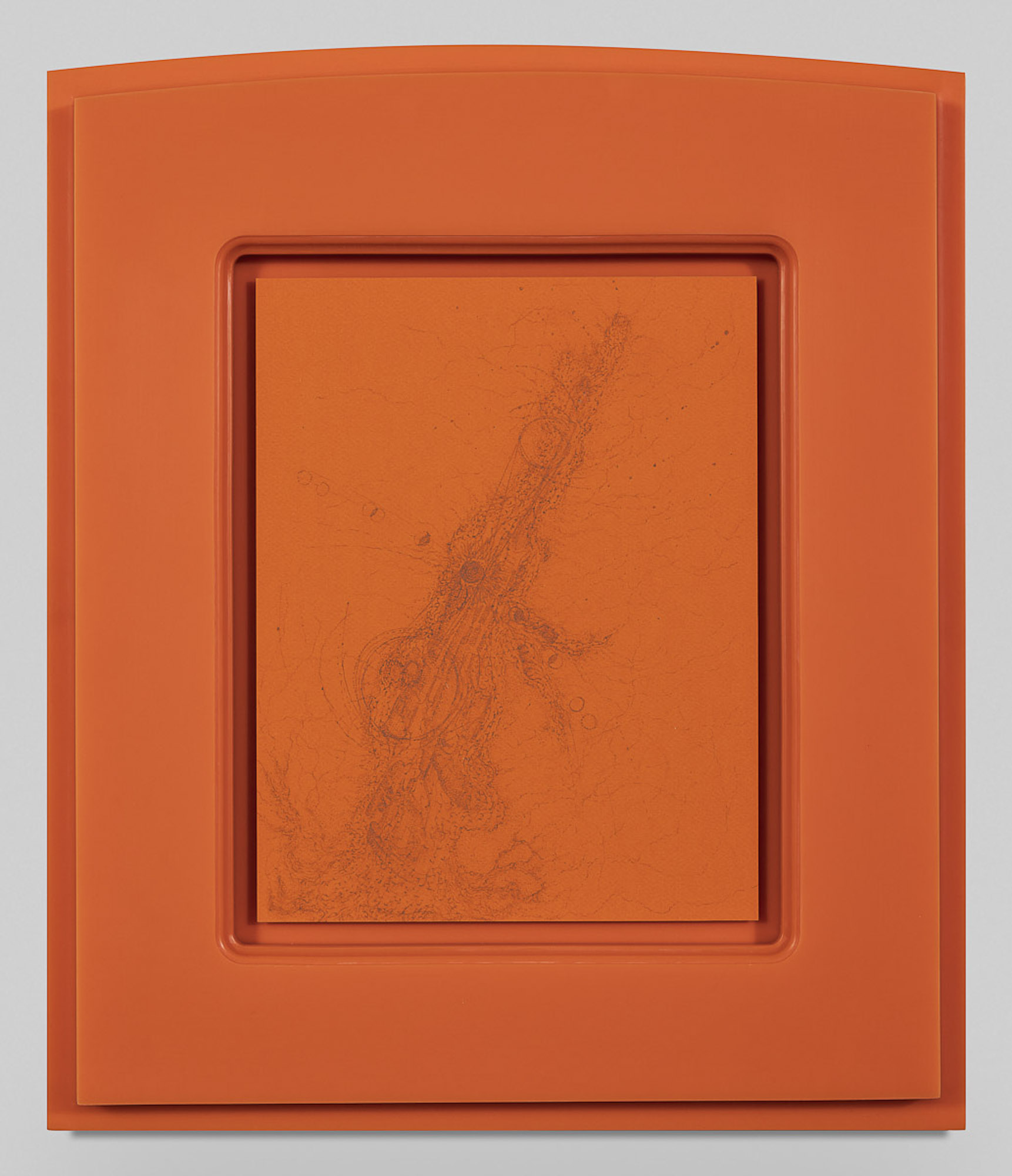 <i>Receiver</i>, 2019<br>Graphite on paper in ultra high molecular weight plastic frame<br>21 1/8 x 17 7/8 x 1 3/8 inches (53.7 x 45.4 x 3.5 cm) framed
