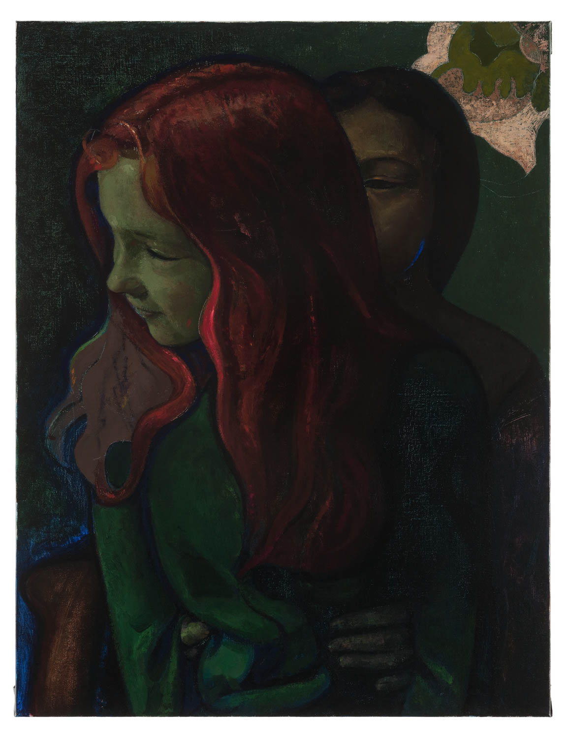 <i>Red and Dark Haired Sisters</i>, 2017<br />Oil on canvas<br />28 3/4 x 22 inches (73 x 56 cm)<br />29 1/2 x 23 x 1 1/2 inches (74.8 x 58.3 x 4 cm) framed<br />