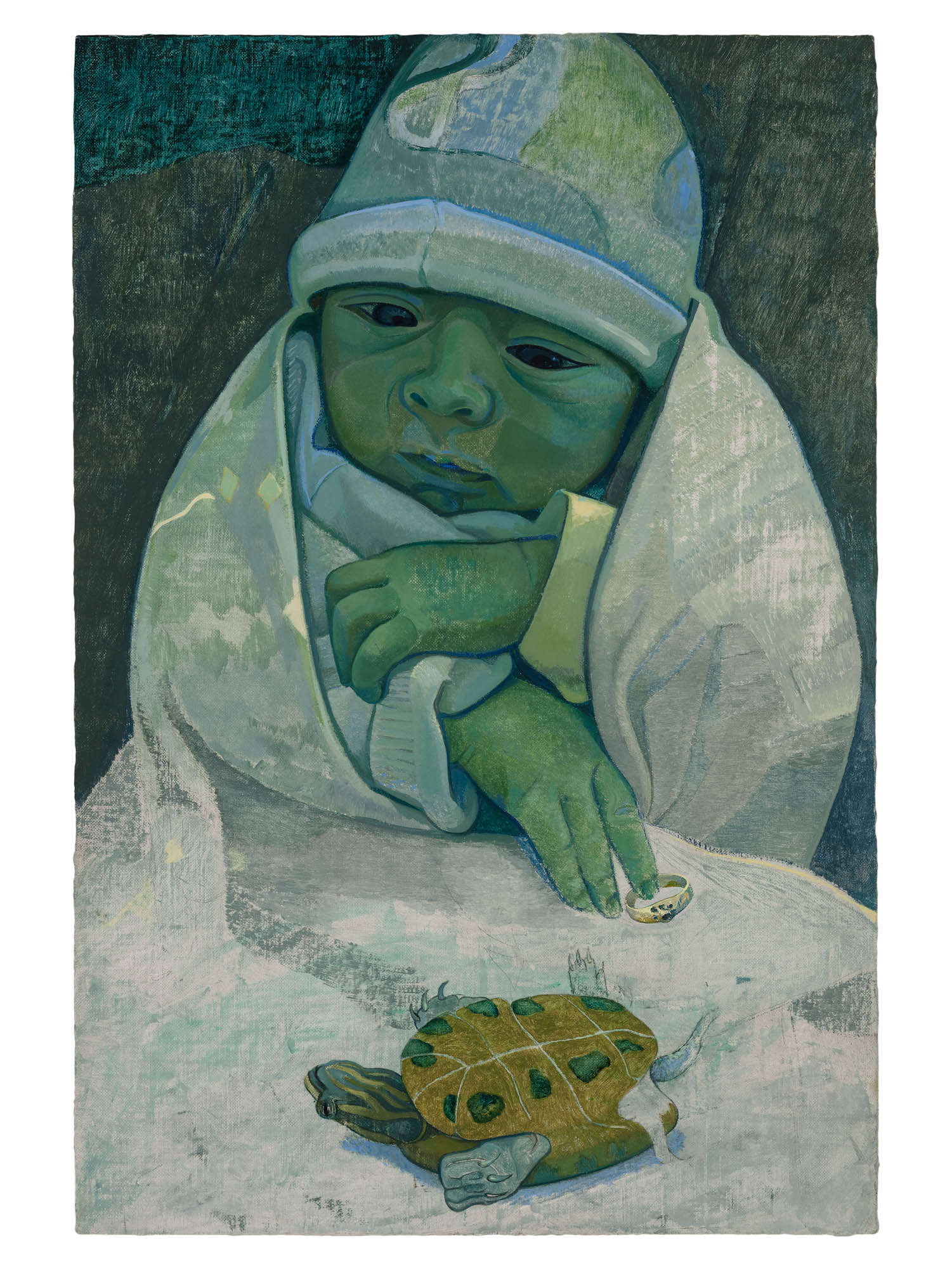 <i>R with Turtle</i>, 2018<br />Oil on canvas mounted on wood<br />14 1/8 x 9 1/2 inches (36 x 24 cm)<br />14 7/8 x 10 1/8 x 1 1/2 inches (37.8 x 25.8 x 4 cm) framed